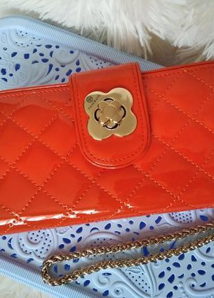 Стильный большой женский кошелек оранжевый