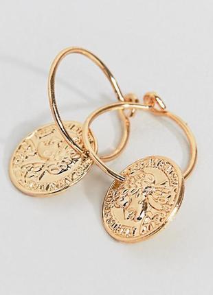 Стильные небольшие кольца серьги с монетой эксклюзив liars & l...
