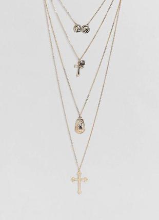 Многослойное ожерелье с подвесками из монет и крестом new look...