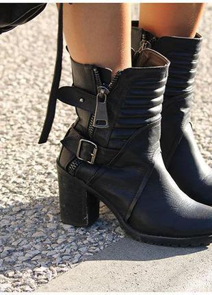 Ботінки, ботинки утепленные, черные ботинки на каблуку, черные...
