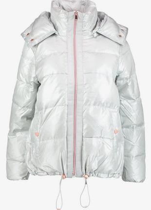 Новый пуховик оверсайз benetton куртка серебро пух 90% оригина...