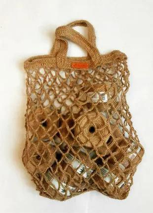 Вязаная сумка джут. Женская сумка сетка. Эко сумка. Эко торба