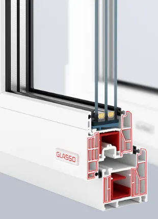 Пластиковые окна и двери Glasso.Пластиковое окно Glasso 7S AXOR