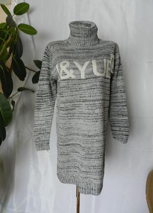 ⛔🔝 вязаный свитер туника платье  с горловиной  размер оверсайз...
