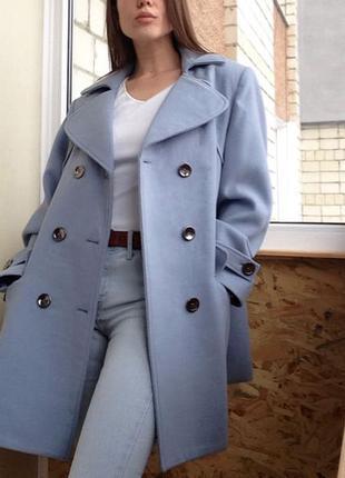 Пальто женское кашемир оверсайз / Стильное пальто небесного цвета