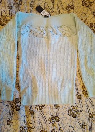 Теплый зимний свитер крупной вязки
