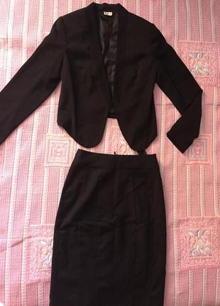 Костюм чёрный строгий юбка карандаш hsm   пиджак/жакет размер ...