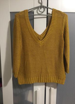 Вязаный акриловый свитер/ джемпер горчичного цвета
