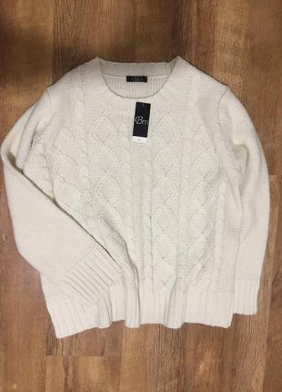 Красивый тёплый вязаный  акриловый свитер/джемпер цвета слонов...
