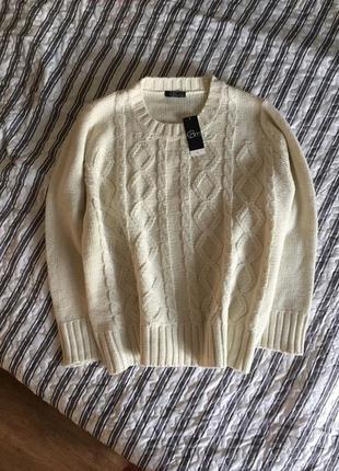 Красивый тёплый вязаный свитер косы, джемпер акриловый цвета с...