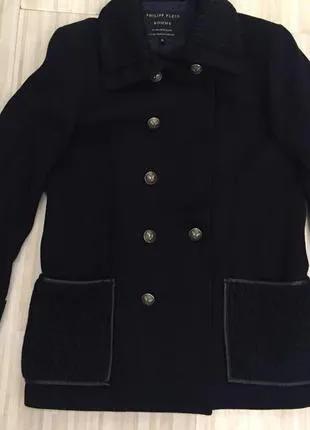 Темно-синее мужское пальто Philipp Plein