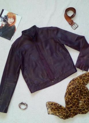 Кожаная курточка бомбер цвета баклажан