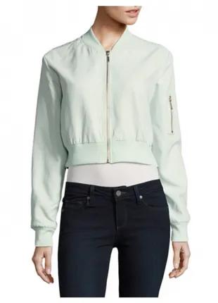 Укороченная ветровка куртка бомбер мятного цвета