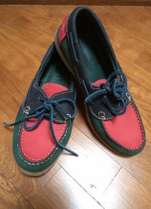 Туфли мокасины топсайдеры 100%кожа