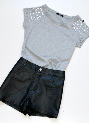 Стильные шорты из эко-кожи,шорты черного цвета topshop