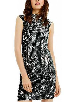 Шикарное коктельное платье пайетки с горлышком