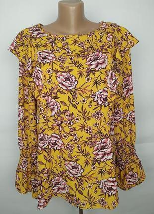 Блуза легкая яркая красивая в принт рюши uk 16/44/xl