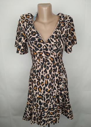 Платье новое леопардовое на запах с рюшами boohoo uk 10/38/s
