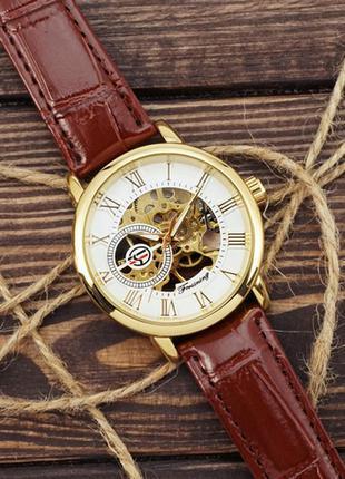 Часы forsining 8099 brown-gold-white