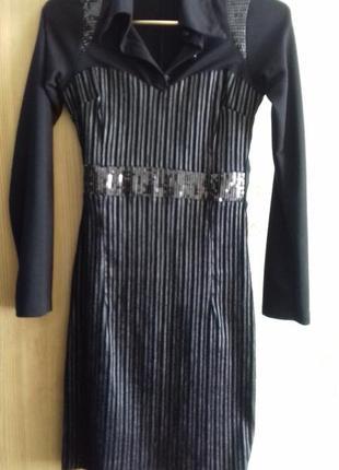 Платье - футляр чёрного цвета, теплое, размер xs-s (34/36).