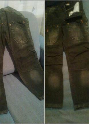 Новые джинсы черные на подростка, плотный джинс