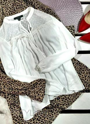 Белая нежная шифоновая блузка