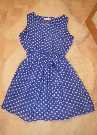 Легкое короткое синее платье в горошек 44 размер
