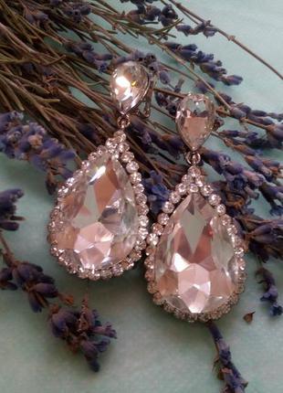 """Серьги """"капля росы"""" (подвески) крупные с кристаллами бриллиант..."""