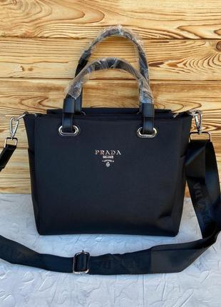 Женская сумка из плащевки на плечо чёрная чорна жіноча Prada