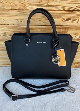 Женская большая сумка на плечо чёрная жіноча Michael Kors Selma