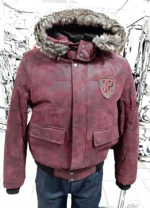 Зимняя кожаная куртка бомбер mustang только оригиналы марок.р-...