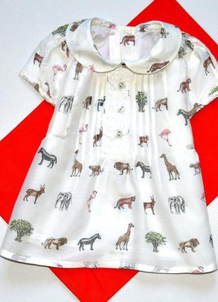 Chicoo. классная туника молочного цвета с зверями зоопарка. 2 ...