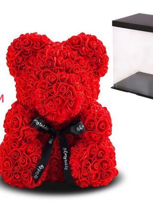 Мишка из роз, 25 см KS Bear Flowers KS B1 Red