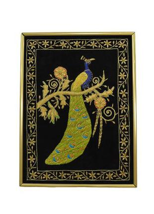 Ручная вышивка картина Павлин (восточный стиль Зардози) В РАМКЕ!