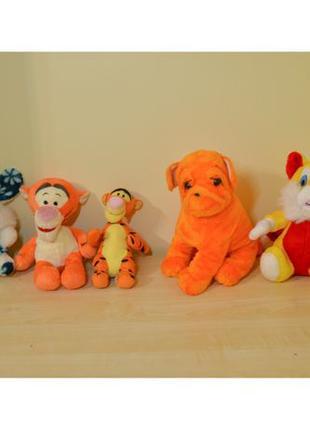 Мягкие игрушки плюшевые: собака, тигр оранжевый, заяц (зайчик)...