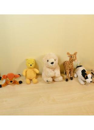 Плюшевые мягкие игрушки: собачка, медведь желтый/белый, жираф,...
