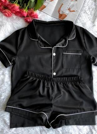 Женская шелковая пижама - рубашка с шортиками на пуговицах. ра...