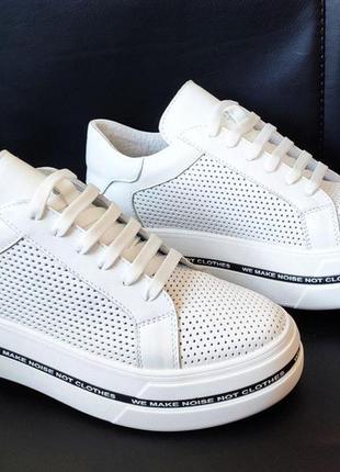 Женские кожаные перфорированные кроссовки 1203 бел п