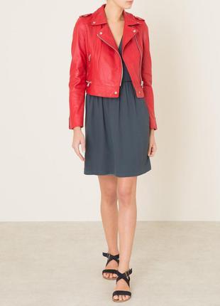 Новая кожаная косуха oakwood, франция 100% кожа красная куртка...