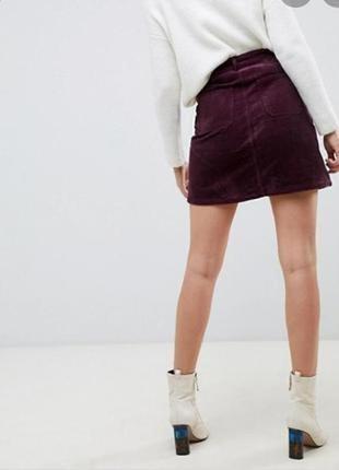 Вельветовая юбочка трапеция винного цвета f&f