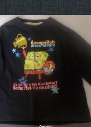 Пуловер на мальчика 6-7 лет с прикольным губкой Бобом