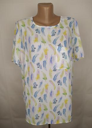 Блуза стильная комбинированная в пёрышки george uk 14/42/l