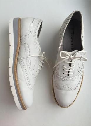 Стильные кожаные туфли лоферы tamaris 36 р.,  оксфорды  натура...