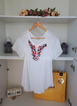 Вышиванка хлопковая блузка с вышивкой papaya