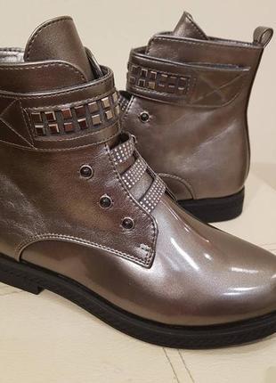 Демисезонные деми ботинки для девочки подростковые на флисе бр...