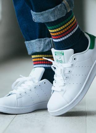 Женские кроссовки adidas stan smith white green