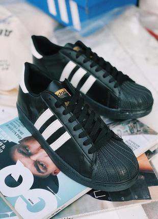 Кроссовки adidas superstar black черные