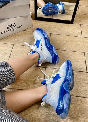 Женские кроссовки triple s clear sole white & blue