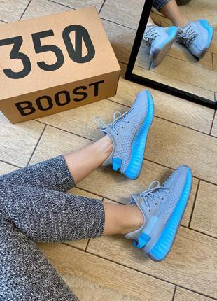Женские кроссовки adidas yeezy boost 350 v2 grey & blue