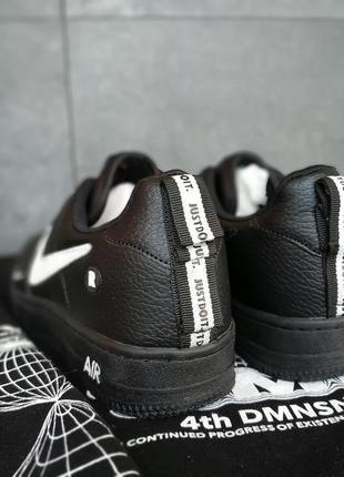 Кроссовки nike air force черные с белым значком